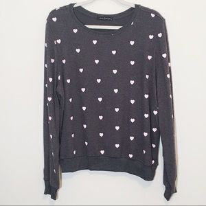 Wildfox Essential Hearts Graphic Pullover M